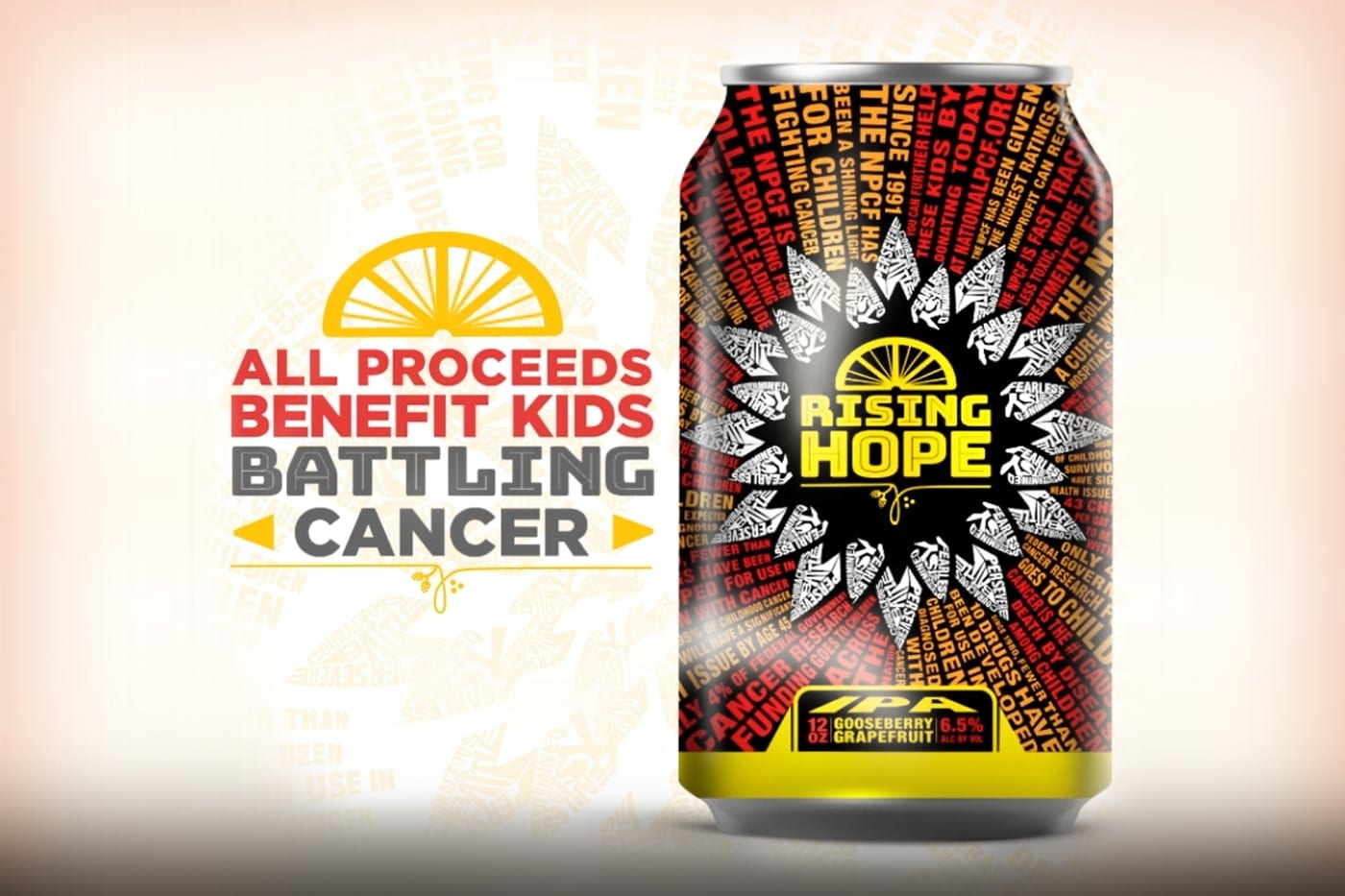 Image of the Rising Hope can with text to the left saying All Proceeds Benefit Kids Battling Cancer