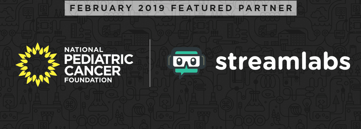 February 2019 Featured Partner Streamlabs and National Pediatric Cancer Foundation logos side by side
