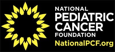 Preview of the National Pediatric Cancer Foundation White and Yellow Sun Logo against a black background