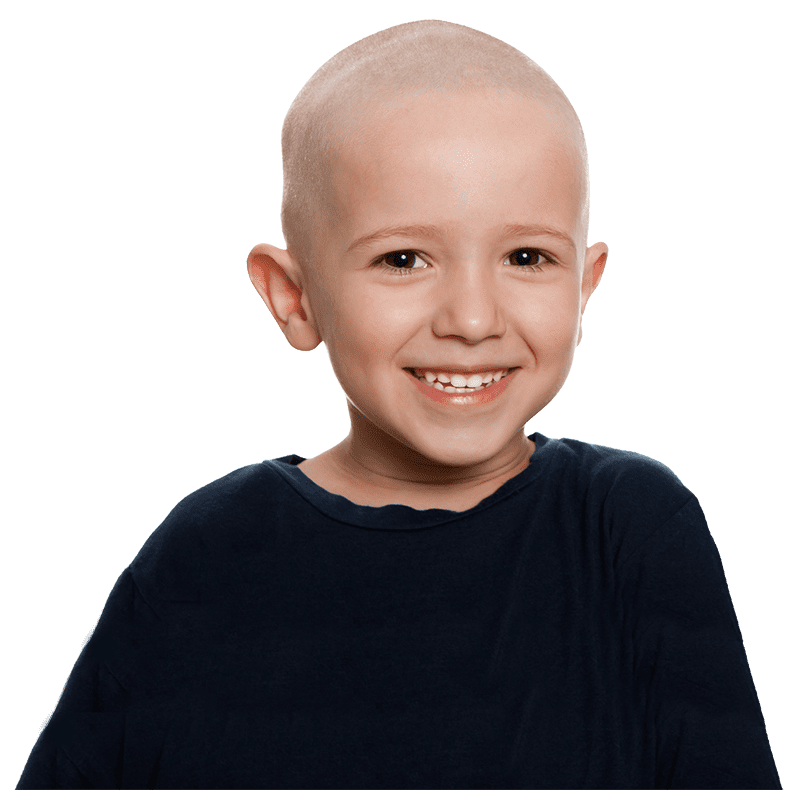 Young bald boy smiling