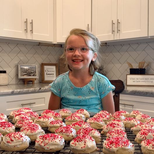 Kinsley baked 43 cookies to join team 43 in the 43 challenge and do 43 campaign!
